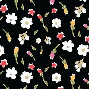Spring Flowers in Black