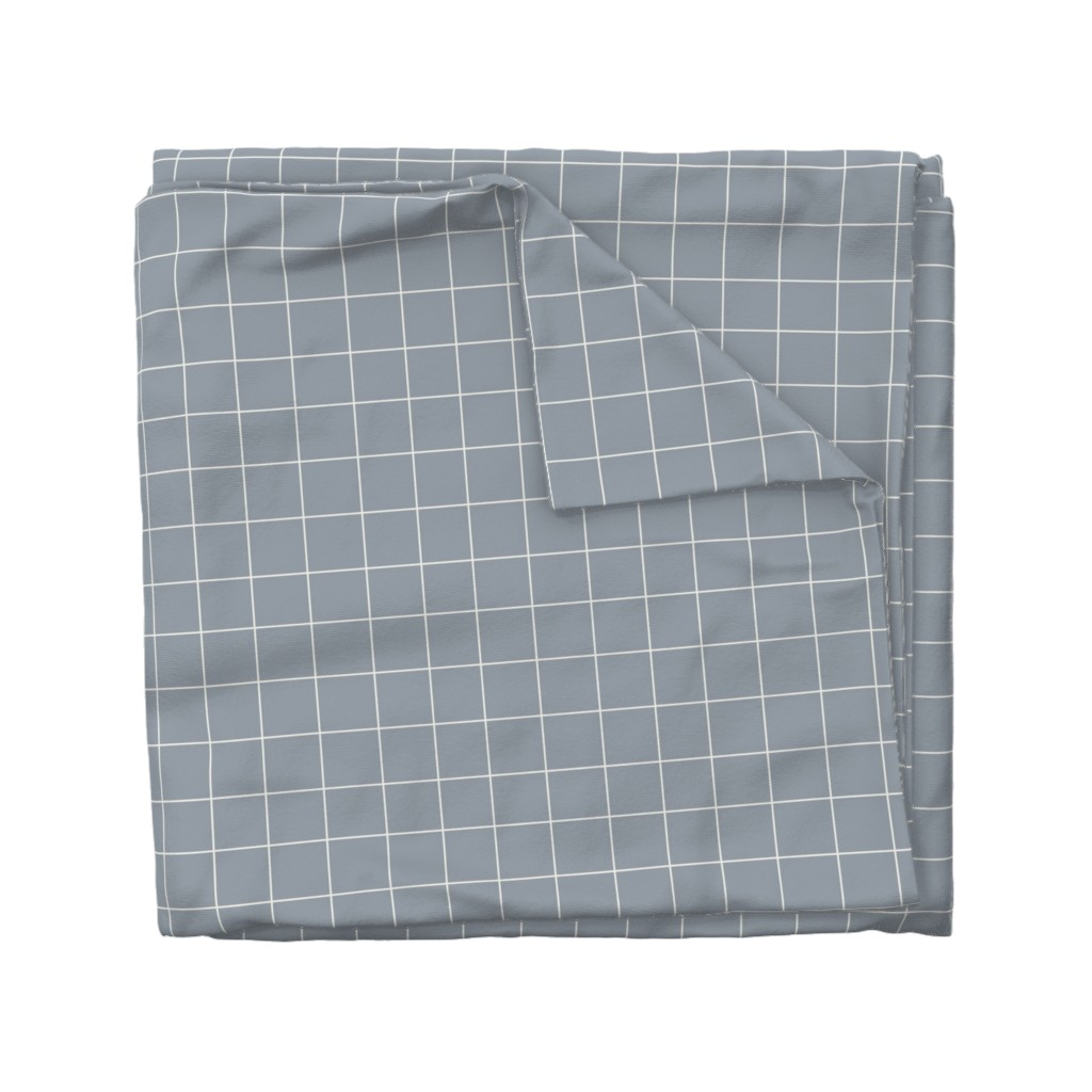 Wyandotte Duvet Cover featuring Grid - white on smokey blue grey by sunny_afternoon