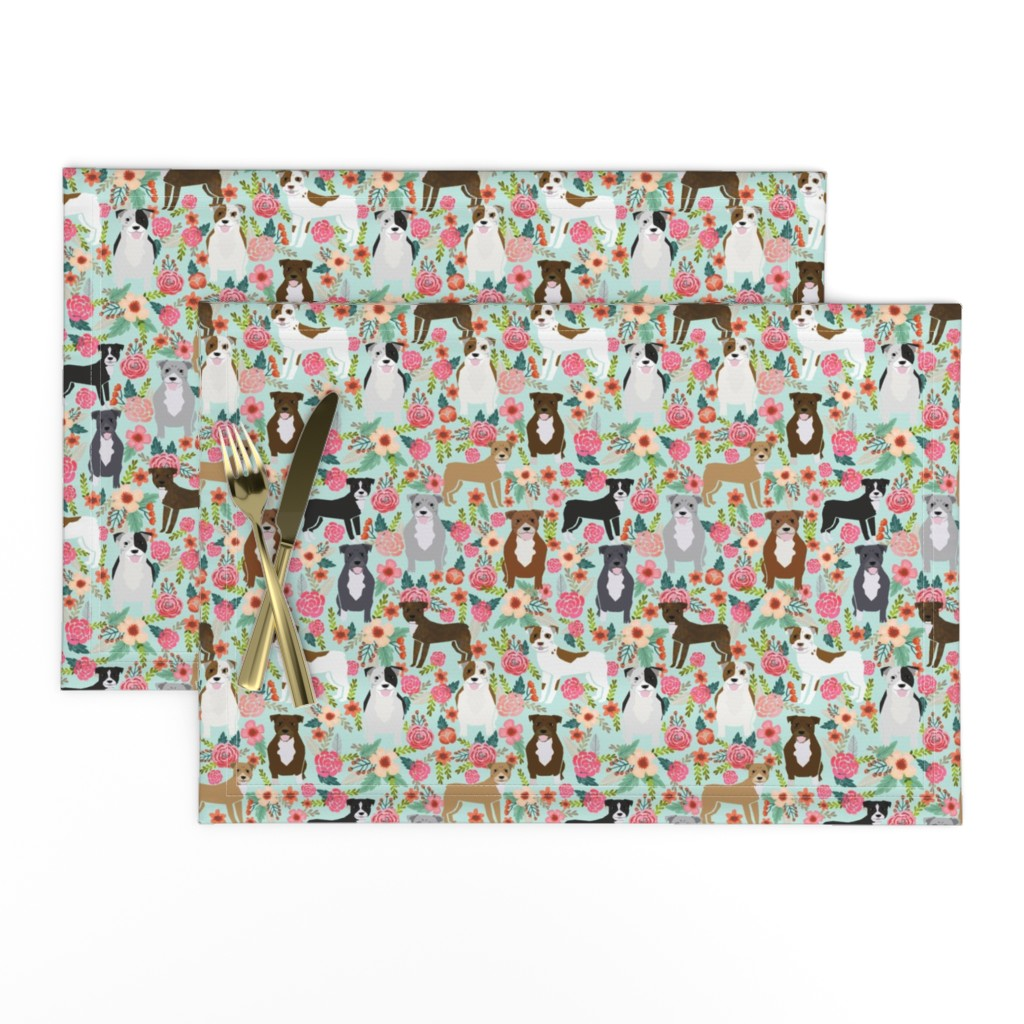 Lamona Cloth Placemats featuring pitbull pitbull terriers cute dogs dog sweet animals florals mint dog pets by petfriendly
