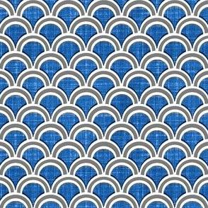 faux linen scallops in blue