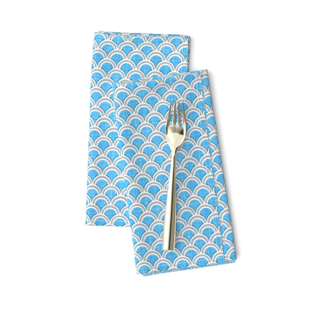 Amarela Dinner Napkins featuring Faux linen azure blue scallops by joanmclemore