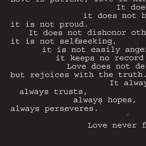 love never fails  black & white