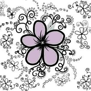 Purple Floral  Doodles on White