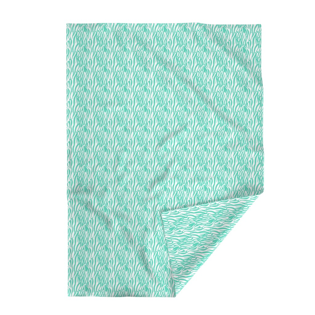 Lakenvelder Throw Blanket featuring Aqua Zebrafish in the Reeds by paper_and_frill