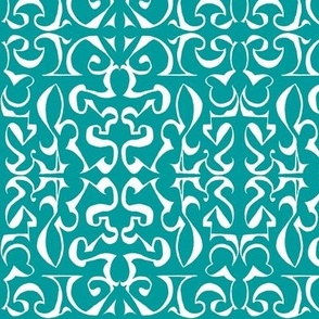 ARABESQUE Turquoise and White