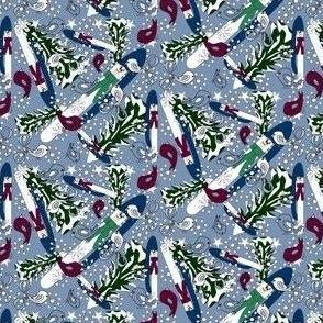 Snowman, Winter Trees, Birds & Snowflakes Fabric D