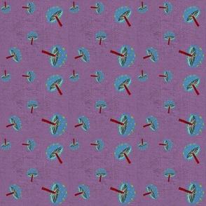 purple mushrooms fabric
