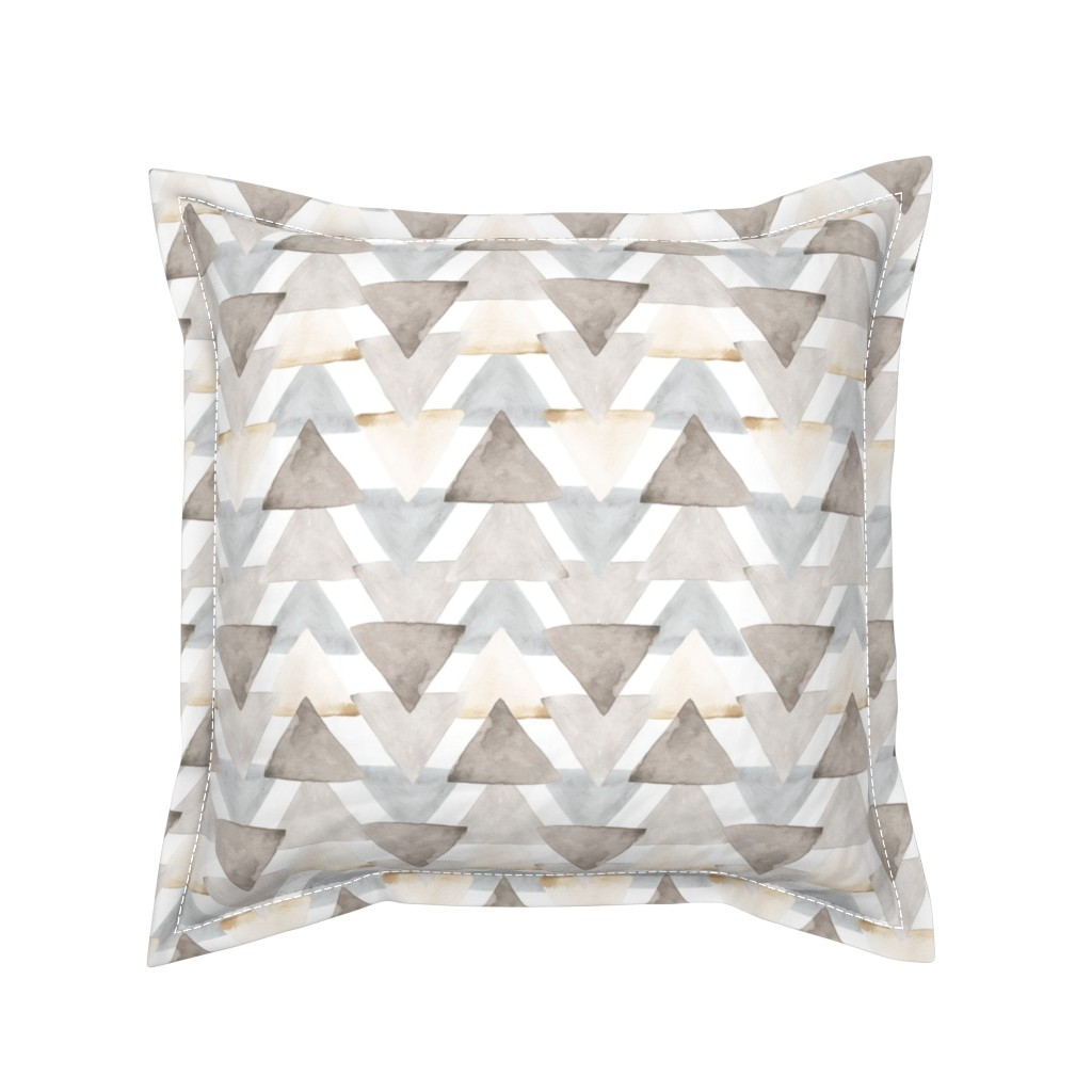 Serama Throw Pillow featuring Neutral Watercolor Triangles by ivieclothco