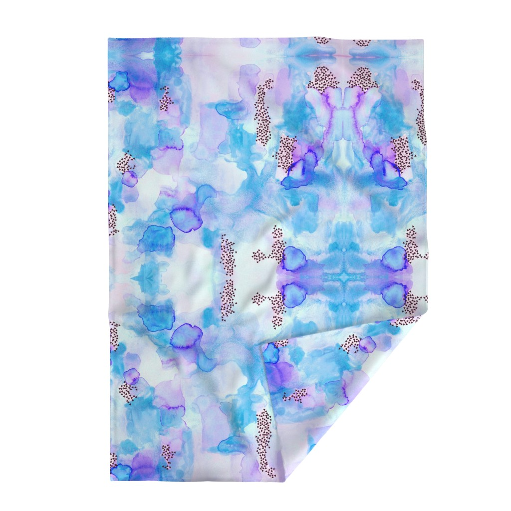 Lakenvelder Throw Blanket featuring hand-painted watercolor abstract // blue + lavender by ivieclothco