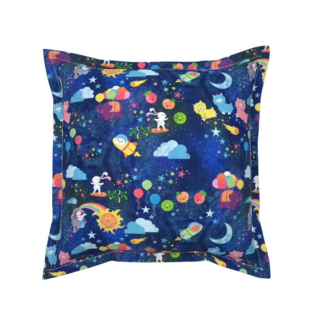 Serama Throw Pillow featuring Cosmic Kawaii by lyddiedoodles