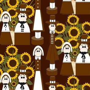 Pilgrims, Sunflower Flower Arrangement and Thanksgiving  Fabric A