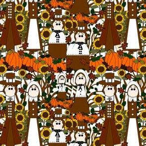 Pilgrims, Sunflowers, Fall Leaves, Pumpkins and Thanksgiving  Fabric E