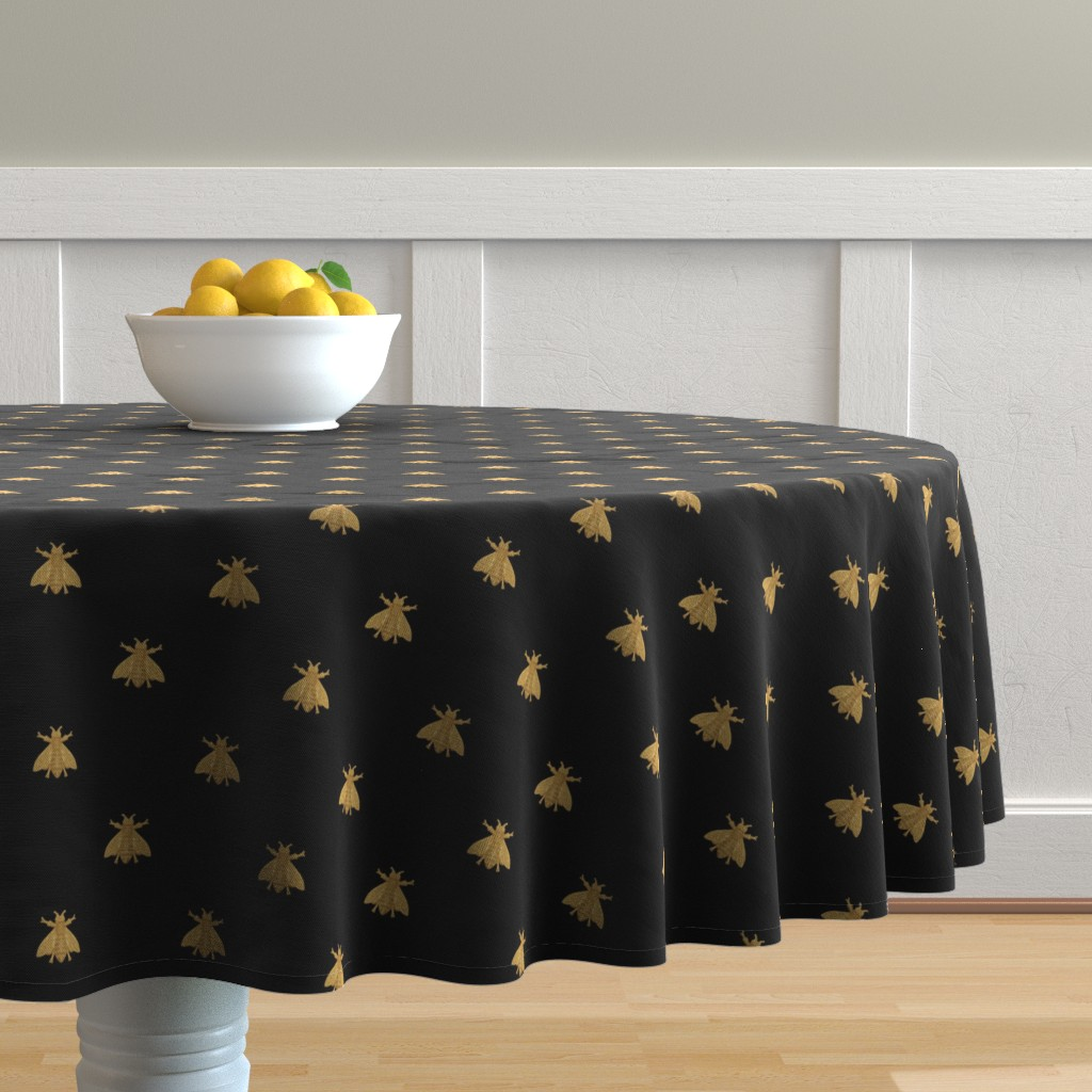 Malay Round Tablecloth featuring Napoleonic Bees ~ Faux Gilt on Blackest Black by peacoquettedesigns