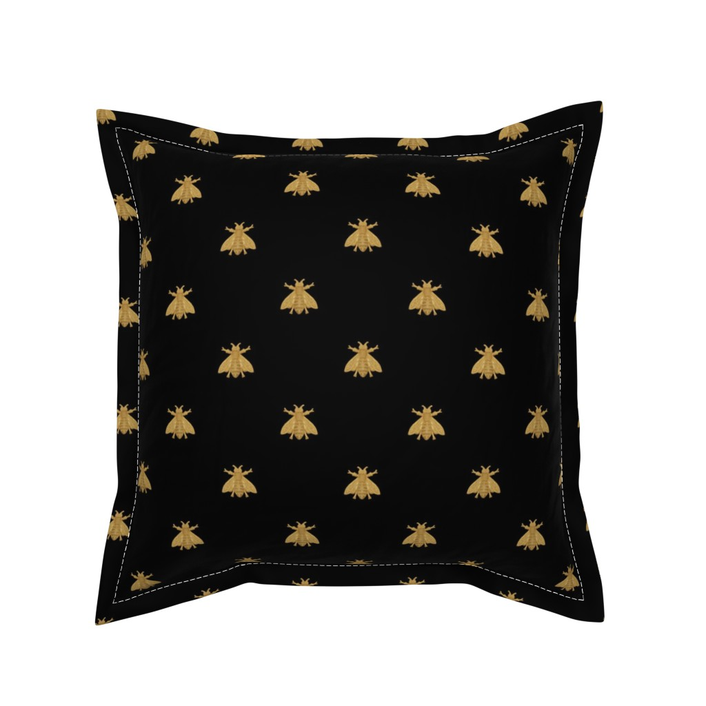 Serama Throw Pillow featuring Napoleonic Bees ~ Faux Gilt on Blackest Black by peacoquettedesigns