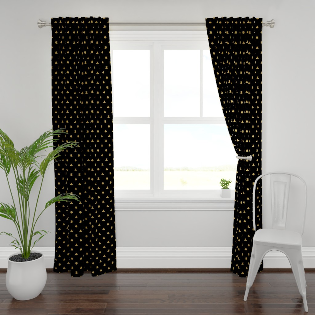 Plymouth Curtain Panel featuring Napoleonic Bees ~ Faux Gilt on Blackest Black by peacoquettedesigns