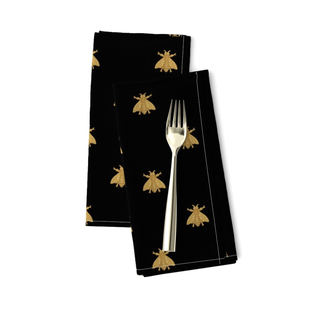 Amarela Dinner Napkins featuring Napoleonic Bees ~ Faux Gilt on Blackest Black by peacoquettedesigns