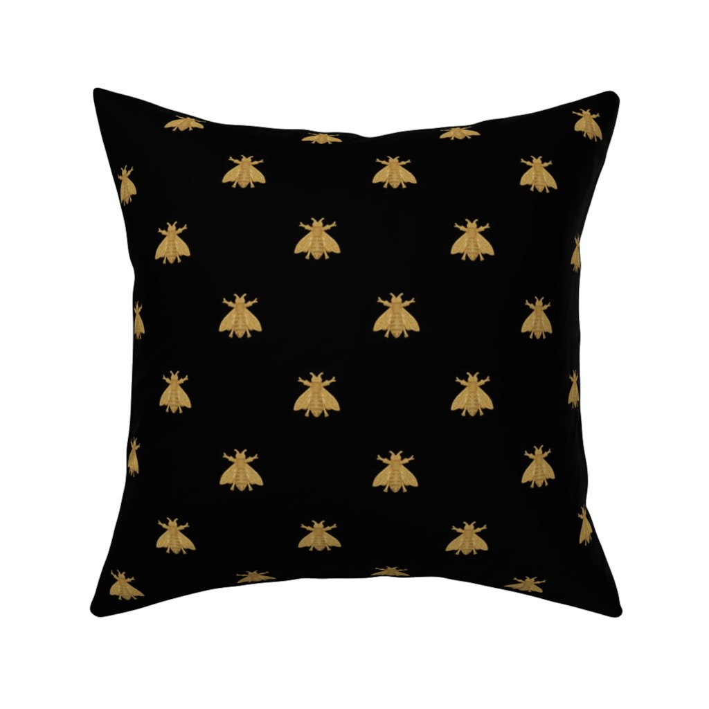 Catalan Throw Pillow featuring Napoleonic Bees ~ Faux Gilt on Blackest Black by peacoquettedesigns