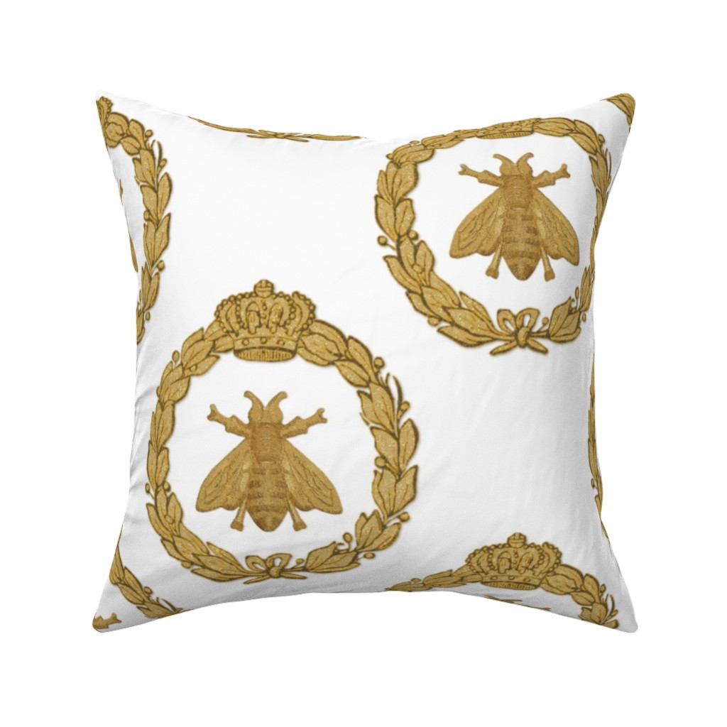 Catalan Throw Pillow featuring Napoleonic Bees ~ Queen Bee ~ Faux  Gilt on White by peacoquettedesigns