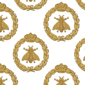 Napoleonic Bees ~ Queen Bee ~ Faux  Gilt on White
