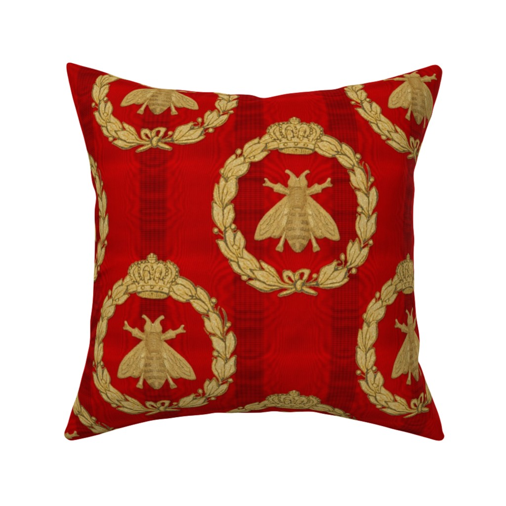 Catalan Throw Pillow featuring Napoleonic Bees ~ Queen Bee ~  Faux  Gilt on Richelieu Moire  by peacoquettedesigns