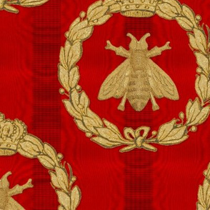 Napoleonic Bees ~ Queen Bee ~  Faux  Gilt on Richelieu Moire
