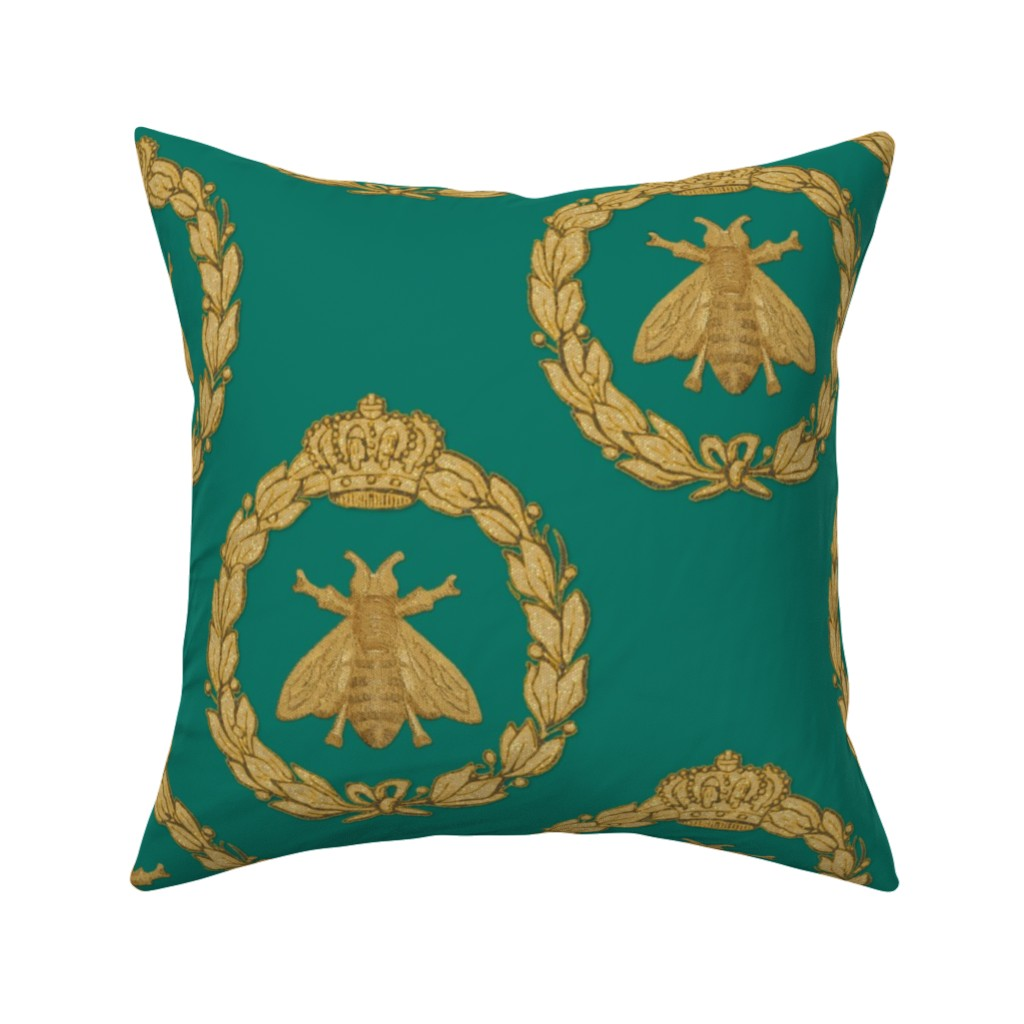 Catalan Throw Pillow featuring Napoleonic Bees ~ Queen Bee ~ Faux Gilt on Napoleon by peacoquettedesigns