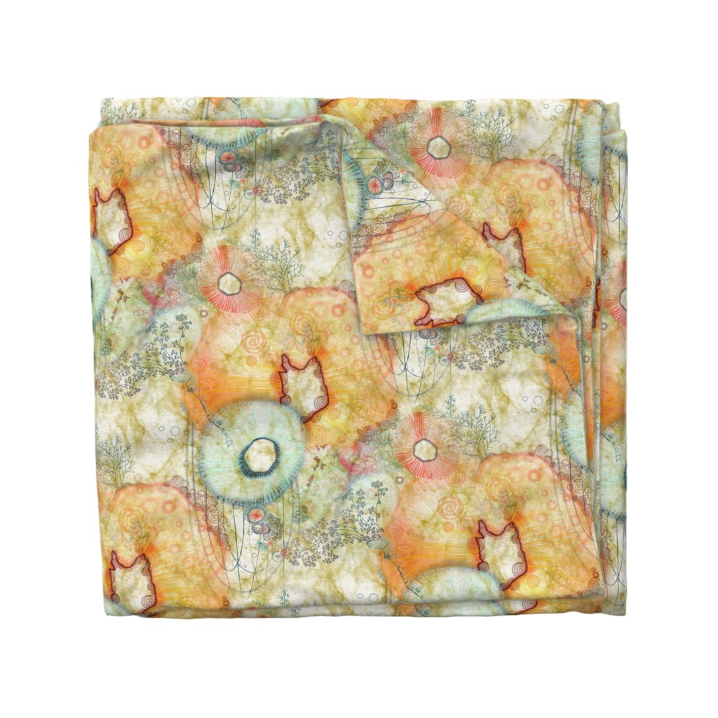 Wyandotte Duvet Cover featuring evolving organic species in warm Solar Yellow by mimipinto