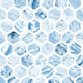 Marbled Honeycomb in Blue