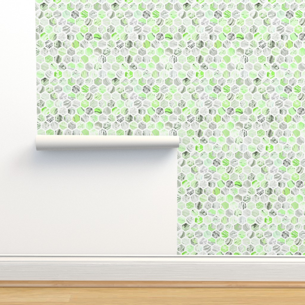 Isobar Durable Wallpaper featuring Marbled Honeycomb in Green by dinaramay