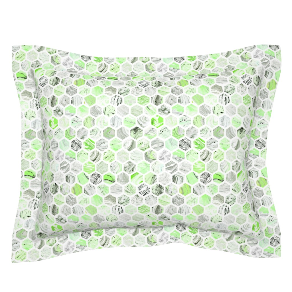 Sebright Pillow Sham featuring Marbled Honeycomb in Green by dinaramay
