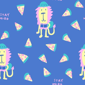 Stay weird lion with pizza in pink and blue