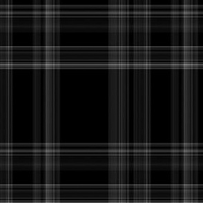 Black and Silvery Gray Plaid