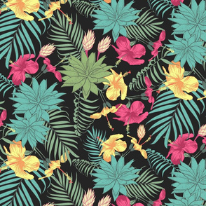 The pattern of tropical hibiscus flowers and aloe, branches of palm trees