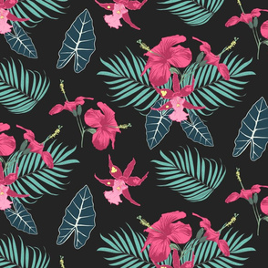 The pattern of tropical hibiscus flowers palm branches