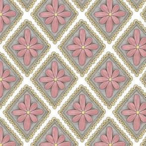 pink floral diamond pattern