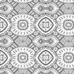 Lace-like Design | Black and White - Horizontal