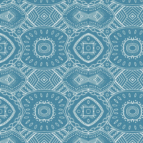 Lace-like Design | White on Blue - horizontal