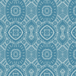 Lace-like Design | White on Blue - vertical