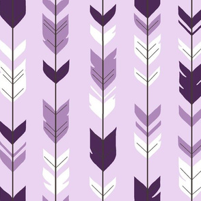 Arrow Feathers - purple on lavender - moonshade