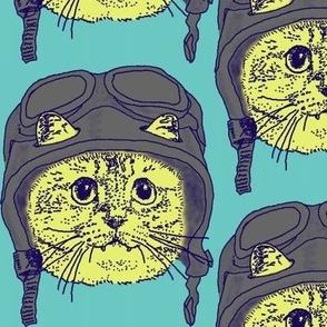 Moto Kitty on Light Blue