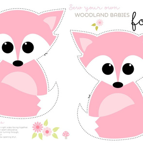 Sew your own baby fox - 2 fronts in pink
