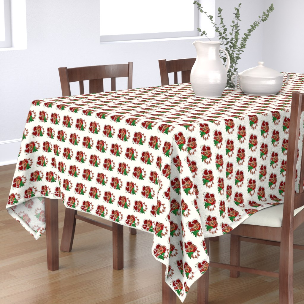 Bantam Rectangular Tablecloth featuring Xmas Yorkie & hearts by barbyyy
