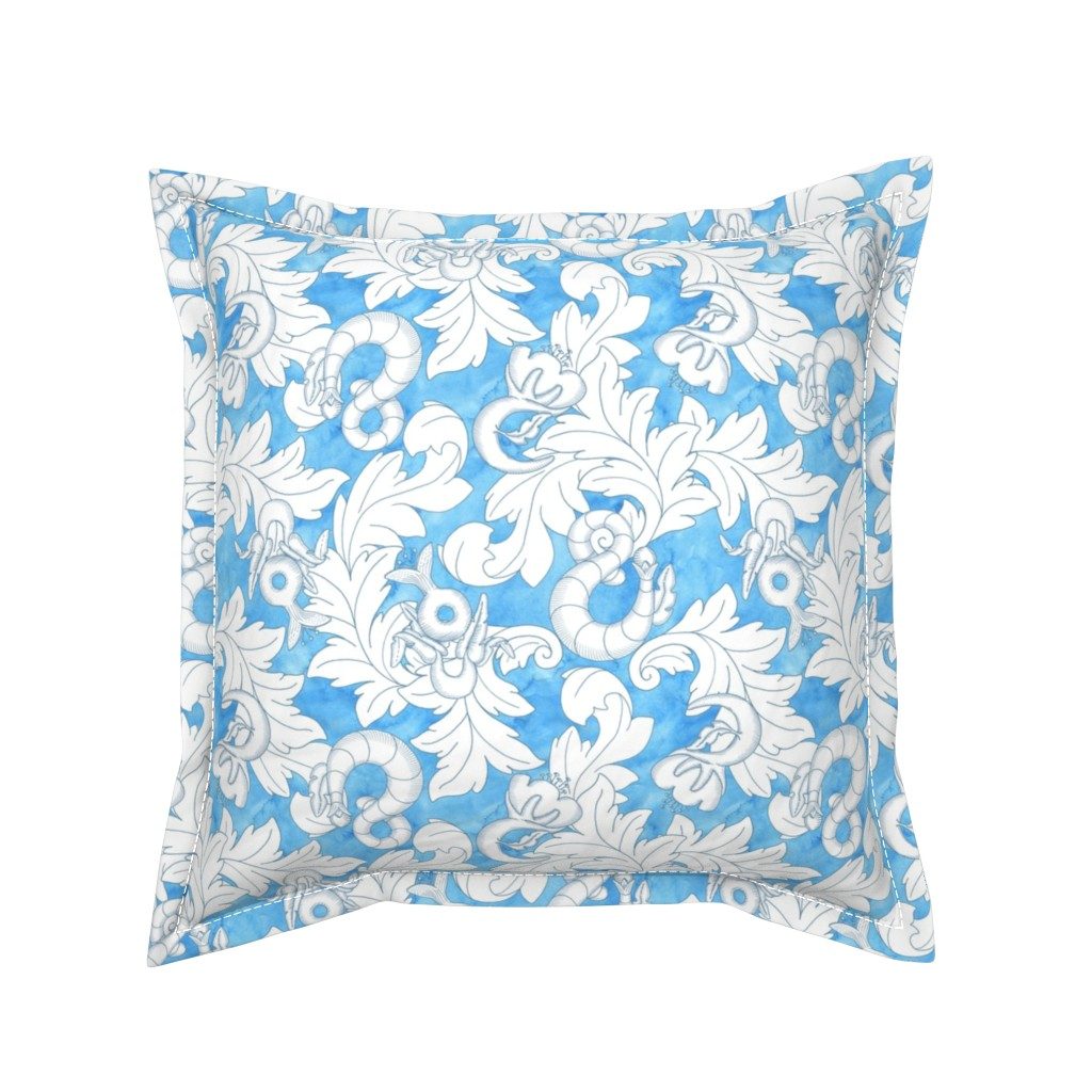 Serama Throw Pillow featuring You & Me: Blue lines by mia_valdez