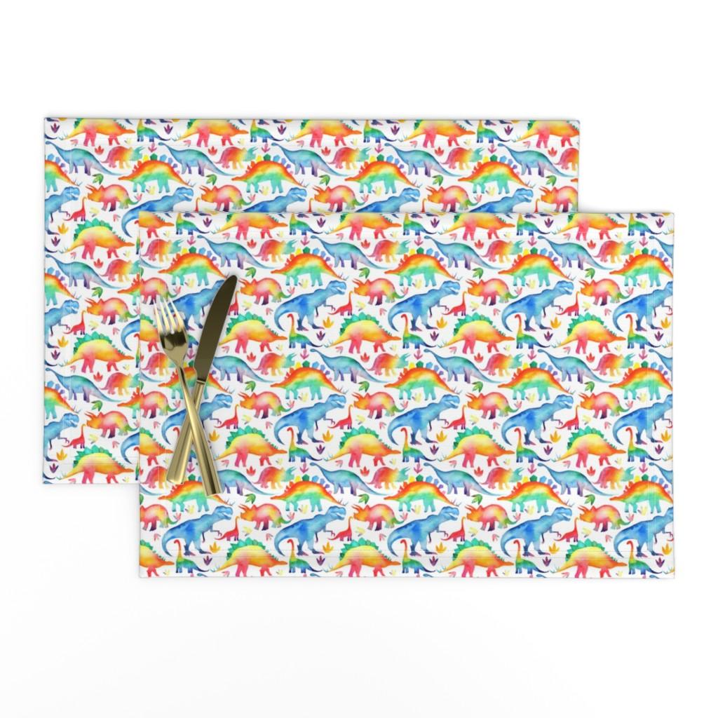 Lamona Cloth Placemats featuring Rainbow Watercolour Dinosaurs - smaller scale by emeryallardsmith