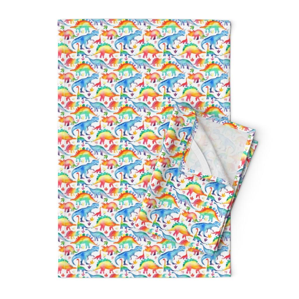 Orpington Tea Towels featuring Rainbow Watercolour Dinosaurs - smaller scale by emeryallardsmith