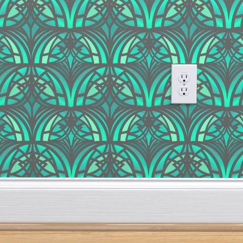 Wallpaper Green Art Deco Pattern