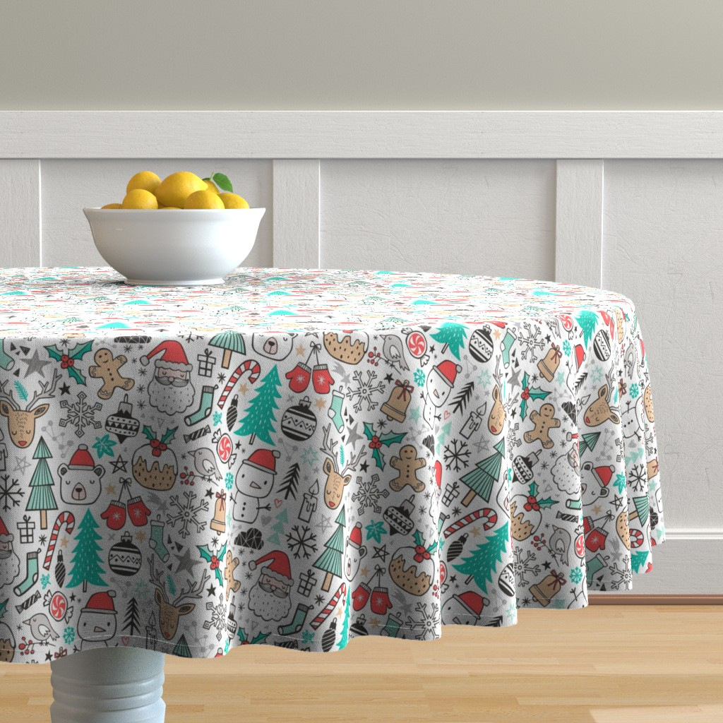 Malay Round Tablecloth featuring Xmas Christmas Winter Doodle with Snowman, Santa, Deer, Snowflakes, Trees, Mittens  by caja_design