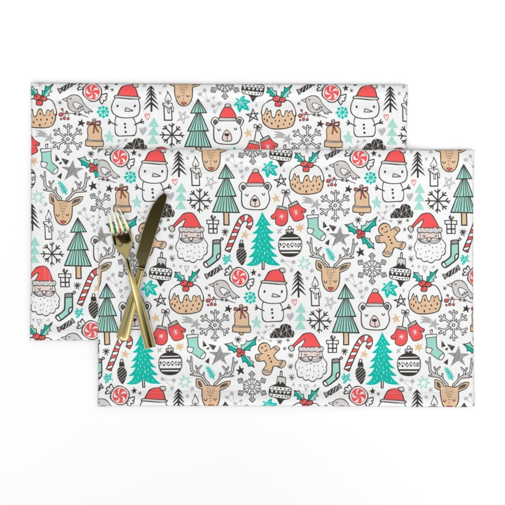 Lamona Cloth Placemats featuring Xmas Christmas Winter Doodle with Snowman, Santa, Deer, Snowflakes, Trees, Mittens  by caja_design