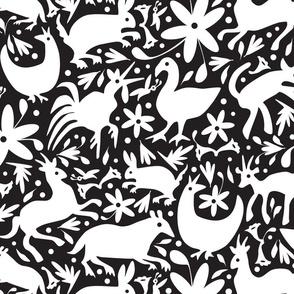 Mexico Springtime: White on Black (Large Scale)