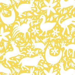 Mexico Springtime: White on Yellow (Large Scale)